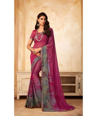 Pink Georgette Printed and Fancy Lace Border Designer Saree