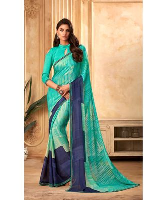 Turqouise Blue Georgette Printed and Fancy Lace Border Designer Saree
