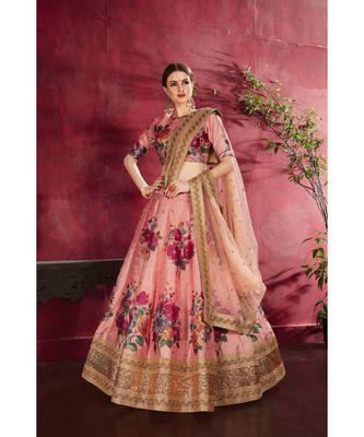 Wedding Embroidery Peach Art Silk Designer Lahengha