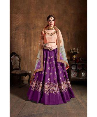 Wedding Embroidery Purple Banglory Silk Designer Lehenga
