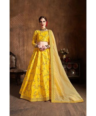 Wedding Embroidery yellow Banglory Silk Designer Lehenga