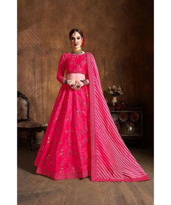 Wedding Embroidery Pink Banglory Silk Designer Lehenga