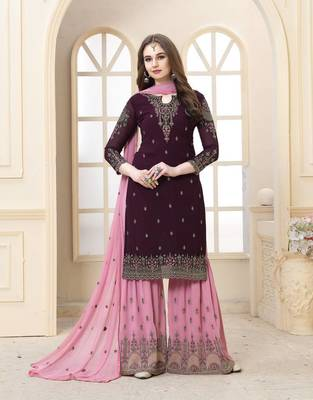 EID SPECIAL WINE EMBROIDERED FAUX GEORGETTE SHARARA SUIT SEMI STITCHED