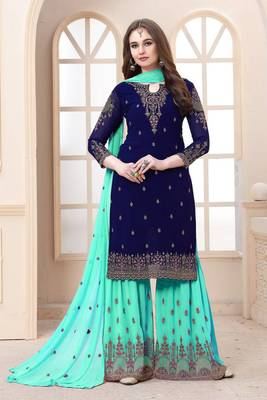 EID BLUE EMBROIDERED FAUX GEORGETTE SHARARA SUIT SEMI STITCHED
