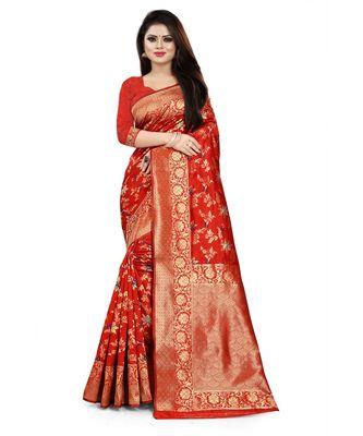 Red Color Banarasi Silk Jacquard Work Phulkari type banarasi saree with blouse
