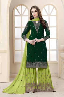 EID GREEN EMBROIDERED FAUX GEORGETTE KAMEEZ WITH SHARARA SEMI STITCHED