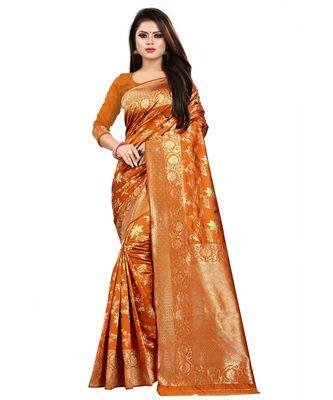 Yellow Color Banarasi Silk Jacquard Work Phulkari type banarasi saree with blouse