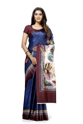 Navy blue printed tussar silk saree with blouse