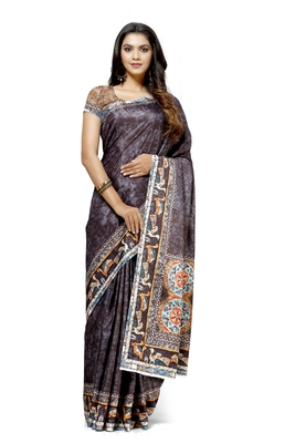 Coffee printed tussar silk saree with blouse