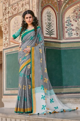 GREY LINEN COTTON EMBROIDER WORK INDIAN WEAR SAREE