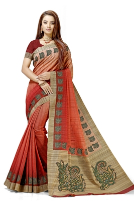 Peach printed tussar silk saree with blouse