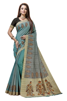 Turquoise printed tussar silk saree with blouse