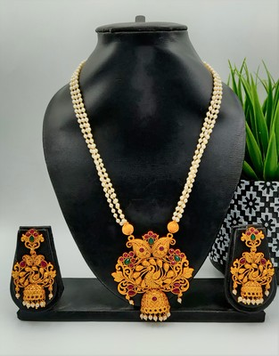Gold Beaded Temple Jewellery Necklace Sets