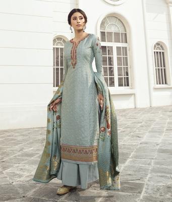 Light-sky-blue embroidered tussar silk salwar