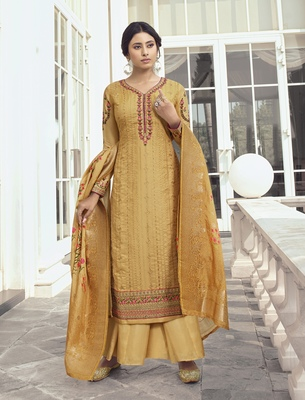 Mustard embroidered tussar silk salwar