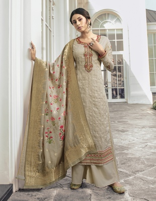 Off-white embroidered tussar silk salwar