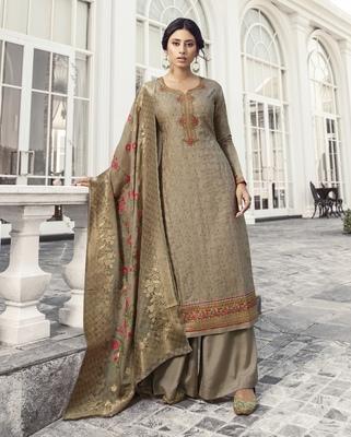 Dark Beige Embroidered Tussar Silk Salwar