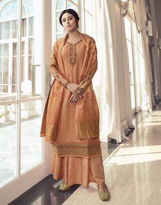 Dark-peach embroidered tussar silk salwar