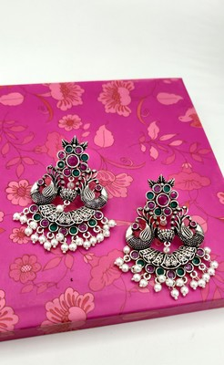 Oxidised Silver-Toned Handcrafted Crescent Shaped Chandbalis