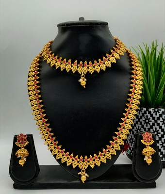 GOLD PLATED & RED STONE STUDED SOUTH INDIAN TRADITIONAL NECKLACE JEWELLERY SET COMBO FOR WOMEN