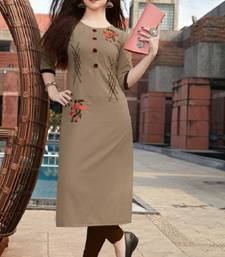 Beige Embroidered Cotton Silk Kurti