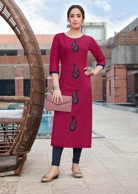 Pink embroidered cotton silk Kurti