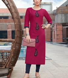 Pink Embroidered Cotton Silk Kurti