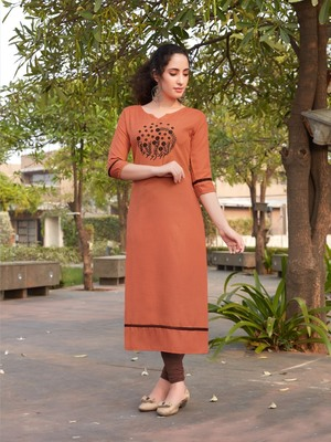Orange Embroidered Cotton Silk Kurti