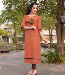 Orange Embroidered Cotton Silk Kurti