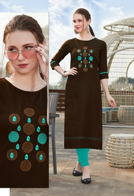 Brown Embroidered Cotton Silk Kurti
