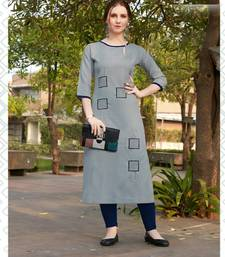 Grey Embroidered Cotton Silk Kurti