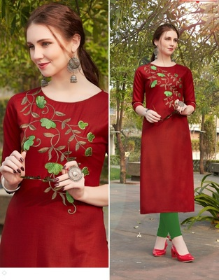 Maroon embroidered cotton silk Kurti