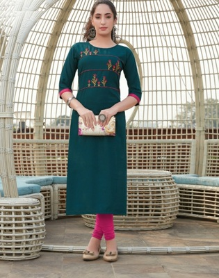 Turquoise embroidered cotton silk Kurti