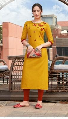 Mustard embroidered cotton silk Kurti