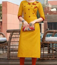 Mustard embroidered cotton silk Kurti