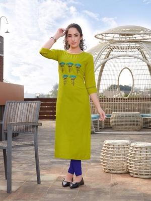 Yellow Embroidered Cotton Silk Kurti