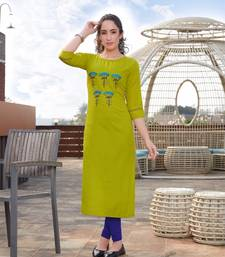 Yellow Embroidered Cotton Silk Kurti