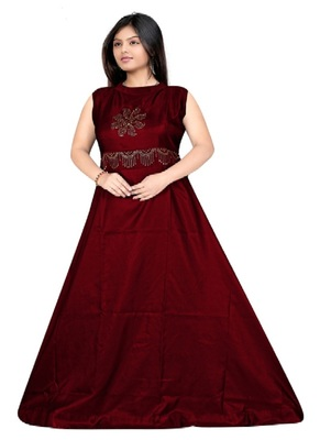 Maroon Diamond Work  Tafeta Satin With Inner Full Stiched Anarkali Gown