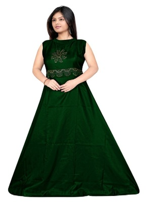 Green Diamond Work  Tafeta Satin with Inner Full Stiched Anarkali Gown