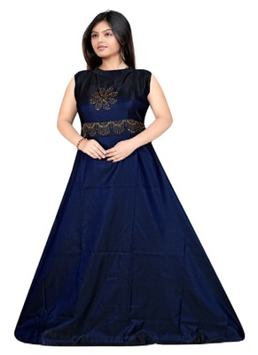 Navy Blue Diamond Work  Tafeta Satin with Inner Full Stiched Anarkali Gown