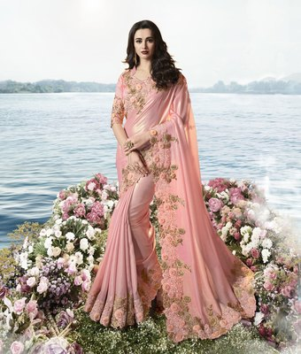 Baby pink embroidered viscose saree with blouse