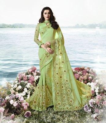 Light green embroidered silk blend saree