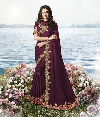 Dark wine embroidered silk blend saree