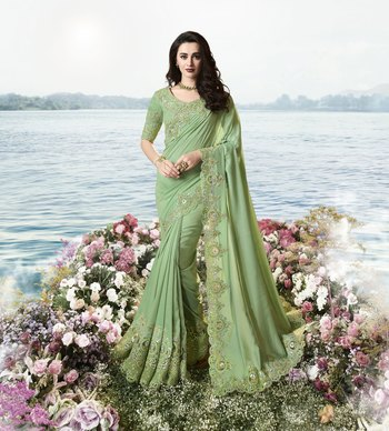 Green Embroidered Viscose Saree