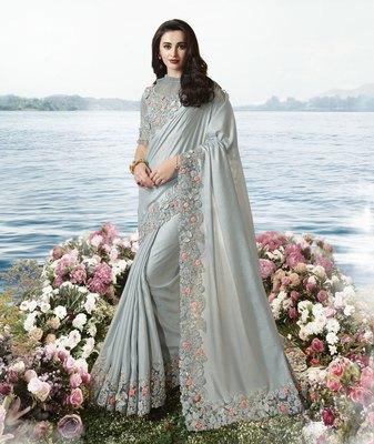 Grey embroidered viscose saree