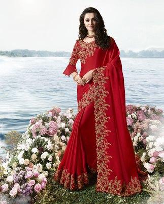 Red embroidered silk blend saree