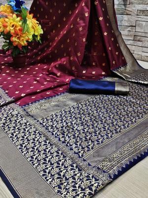 Dark blue woven banarasi saree with blouse