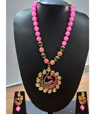 Pink agate Peacock Necklace set