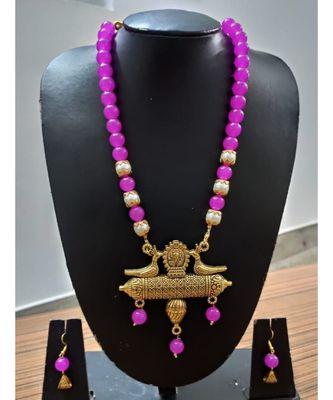Purple colour agate necklace set