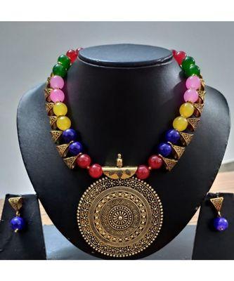 Multi colour agate necklace set